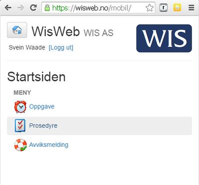 WisWeb Mobil Startside